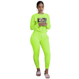 Fluorescent Green Printed Avatar Two Piece Outfits for Women Autumn Biker Shorts Sets with Pockets Bodycon Jogger Sets