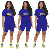 Fashion Royal Blue Ladies Shorts Tracksuit Printed Avatar Women Short Sets