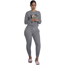 Dark Grey Printed Avatar Two Piece Outfits for Women Autumn Biker Shorts Sets with Pockets Bodycon Jogger Sets