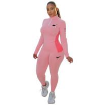 Casual Pink Printed High Neck Zipper 2 Piece Sweatpants Set