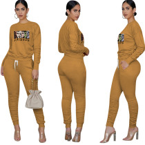 Apricot Printed Avatar Two Piece Outfits for Women Autumn Biker Shorts Sets with Pockets Bodycon Jogger Sets