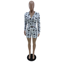 White Women Hooded Contrast Color Printed Cardigan Women Clothes Set with Zipper