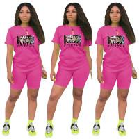 Fashion Rose Ladies Shorts Tracksuit Printed Avatar Women Short Sets