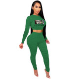 Casual Green Printed Avatar Stacked Joggers Pants Two Piece Pants Set