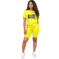 Fashion Yellow Ladies Shorts Tracksuit Printed Avatar Women Short Sets