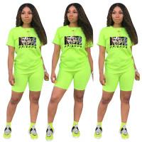 Fashion Fluorescent Green Ladies Shorts Tracksuit Printed Avatar Women Short Sets