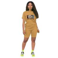 Fashion Apricot Ladies Shorts Tracksuit Printed Avatar Women Short Sets