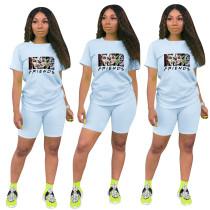 Fashion Light Blue Ladies Shorts Tracksuit Printed Avatar Women Short Sets