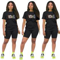 Fashion Black Ladies Shorts Tracksuit Printed Avatar Women Short Sets