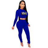 Casual Royal Blue Printed Avatar Stacked Joggers Pants Two Piece Pants Set