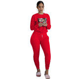 Red Printed Avatar Two Piece Outfits for Women Autumn Biker Shorts Sets with Pockets Bodycon Jogger Sets