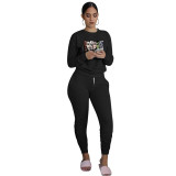 Black Printed Avatar Two Piece Outfits for Women Autumn Biker Shorts Sets with Pockets Bodycon Jogger Sets