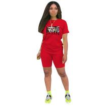 Fashion Red Ladies Shorts Tracksuit Printed Avatar Women Short Sets