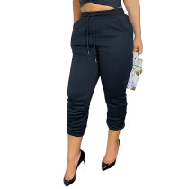 Casual Black Drawstring Sports Thickened Pants with Pockets
