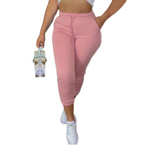 Casual Pink Drawstring Sports Thickened Pants with Pockets