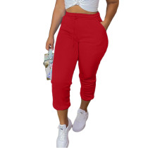Casual Red Drawstring Sports Thickened Pants with Pockets