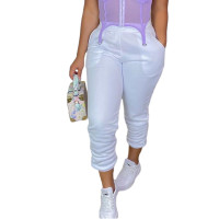 Casual White Drawstring Sports Thickened Pants with Pockets