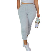 Casual Grey Drawstring Sports Thickened Pants with Pockets