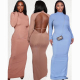 Blue Autumn Winter Women Fashion Sexy Party Club Outfits Long Sleeve Solid Backless Skinny Pit Maxi Dress