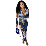 Sexy Print Split Joint Zipper Collar One Step Skirt Dresses with Belt