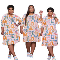 Casual Letter Printed Plus Size Women Clothing Midi Dress