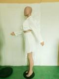 Sexy White Bandage Irregular Two Piece Skirt Set