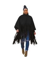 Black British Style Oversized Fringed Top