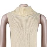 Apricot Sexy Solid Split Turtleneck Nightclub Sweater Sexy Long Sleeveless Dress (Without Waist Chain)