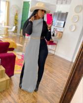 Grey Sexy Solid Split Turtleneck Nightclub Sweater Sexy Long Sleeveless Dress (Without Waist Chain)