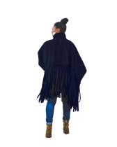 Dark Blue British Style Oversized Fringed Top