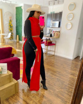 Red Sexy Solid Split Turtleneck Nightclub Sweater Sexy Long Sleeveless Dress (Without Waist Chain)