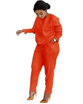 Casual Solid Orange Fall Mujar Set