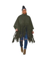 Army Green British Style Oversized Fringed Top