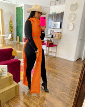Orange Sexy Solid Split Turtleneck Nightclub Sweater Sexy Long Sleeveless Dress (Without Waist Chain)