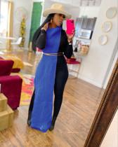 Blue Sexy Solid Split Turtleneck Nightclub Sweater Sexy Long Sleeveless Dress (Without Waist Chain)