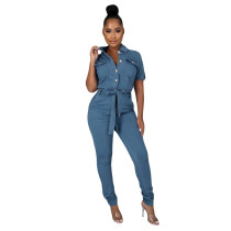 Casual Turn-down Neck Short Sleeve Lace-up Denim Jumpsuit
