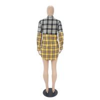 Casual Stitching Plaid Long Sleeve Shirt Dress