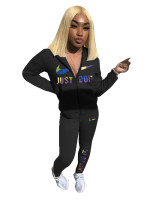 Casual Black Embroidery Sports Fashion 2 Piece Sweatpants and Hoodie Set