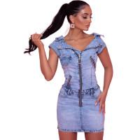 Summer Zip Denim Mini Dress with Pockets