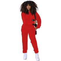 Solid Color Red Round Neck Women Joggers Pants Two Piece Pants Set with Pocket
