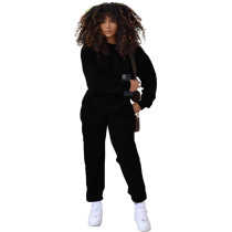 Solid Color Round Neck Women Joggers Pants Two Piece Pants Set with Pocket