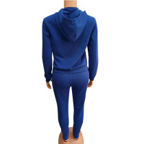 Casual Blue Embroidery Sports Fashion 2 Piece Sweatpants and Hoodie Set