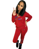 Casual Red Embroidery Sports Fashion 2 Piece Sweatpants and Hoodie Set