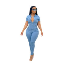 Casual Turn-down Neck Button Short Sleeve Denim Jumpsuit For Women