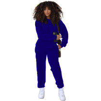 Solid Color Royal Blue Round Neck Women Joggers Pants Two Piece Pants Set with Pocket