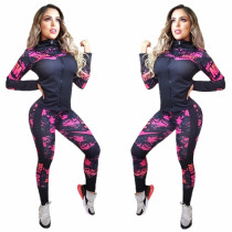 Two Piece Clothes Printing Dyeing Sports Women Sweatsuit Set Tracksuit