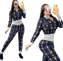 Famous Brands Women Splicing Printed Dyeing Two Piece Outfits Set