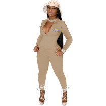 Casual Khaki Zipper Pocket Embroidered Notched Collar Women Jumpsuit