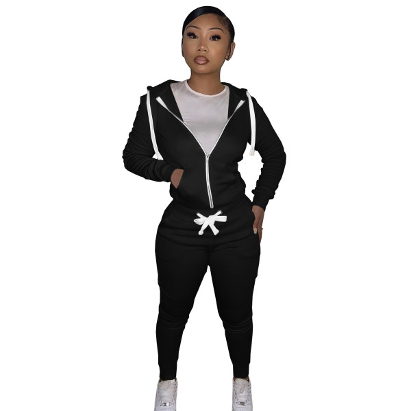 Autumn Winter Black Cotton Two Piece Sweatpants and Hoodie Set for Women