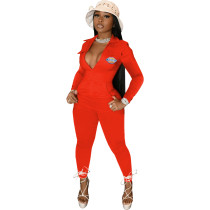 Casual Orange Zipper Pocket Embroidered Notched Collar Women Jumpsuit